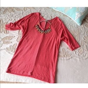 Anthropologie Bordeaux S stripe knit tee top pink